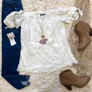 White lace off the shoulder blouse